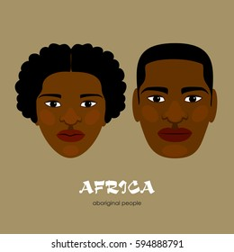 Inhabitants of Africa. Negroes. Man and woman. Vector drawing.