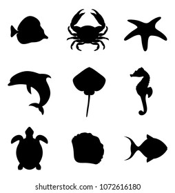 Inhabitants of the ocean. Marine life icons set. Sea life set of silhouettes. Vector illustration.