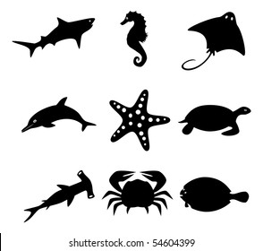Inhabitants of the ocean. Vector icon set