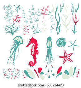 The inhabitants of the seabed elements, animals: jellyfish, seahorse, squid and plants. Modern design and cute color, sea aquarium, simple vector shapes, silhouette.