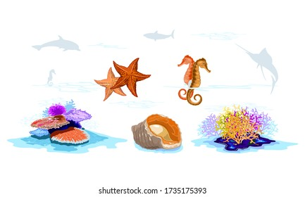 Inhabitants of seabed multicolor coral reefs, starfishes, seahorses, veined rapa whelk, mollusks, invertebrates, fishes silhouettes. Underwater demersal fauna. Vector set isolated on white background