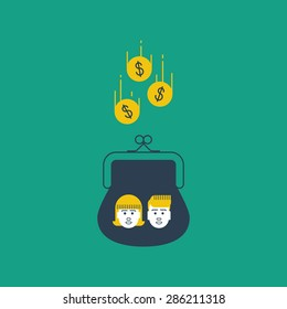 Inherit money, education expenses. Savings account. Future investments. Alimony, children money accumulation, allowance concept, vector flat illustration