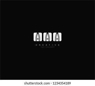 initial AAA letter geometric zebra stripes lines isolated square shape logo