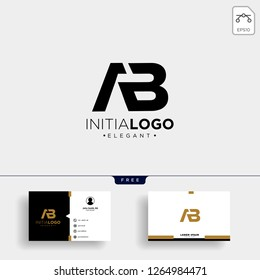 initial AB abstract geometric logo template vector illustration and business card design