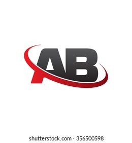 initial AB swoosh ring company logo red black