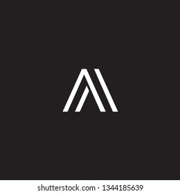 initial abstract AA logo. Black Background.
