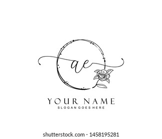 Initial AE beauty monogram and elegant logo design, handwriting logo of initial signature, wedding, fashion, floral and botanical with creative template.