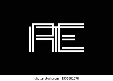 Initial AE EA modern monogram and elegant logo design, Professional Letters Vector Icon Logo on black background.