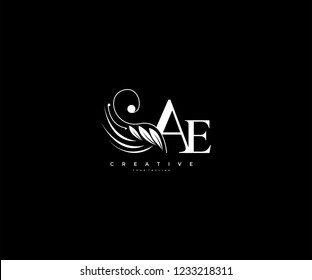 Initial AE letter luxury beauty flourishes ornament monogram logo