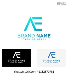 initial ae logo template