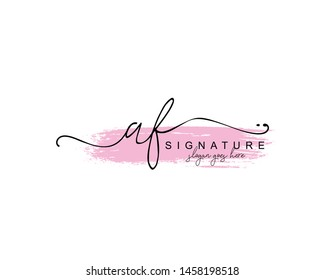 Initial AF beauty monogram and elegant logo design, handwriting logo of initial signature, wedding, fashion, floral and botanical with creative template.