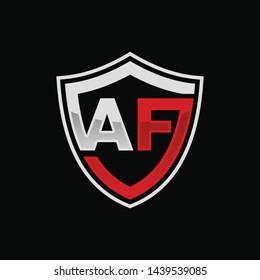 Initial AF shield logo template vector illustration