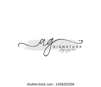 Initial AG beauty monogram and elegant logo design, handwriting logo of initial signature, wedding, fashion, floral and botanical with creative template.