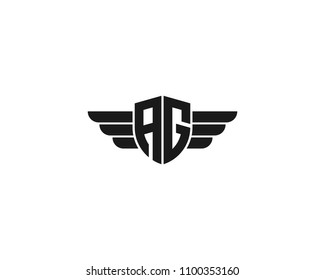 Initial AG wing logo template vector