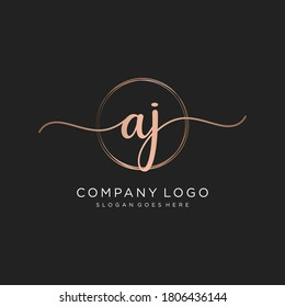 Initial AJ beauty monogram and elegant logo design, handwriting logo of initial signature, wedding, fashion, floral and botanical with creative template.