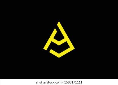 Initial AJ JA HJ JH modern monogram and elegant logo design, Professional Letters Vector Icon Logo on black background.