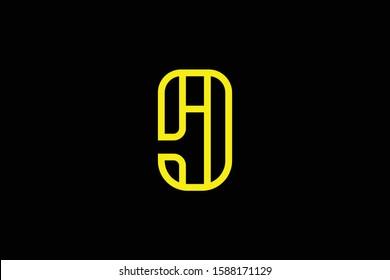 Initial AJ JA modern monogram and elegant logo design, Professional Letters Vector Icon Logo on black background.