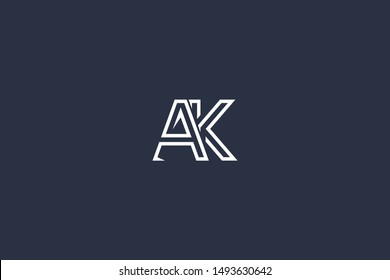 Initial AK KA Letter Logo Design Vector Template. Creative and Minimal Alphabet A K Letters icon Illustration.