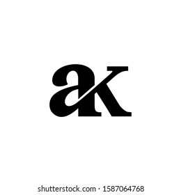 initial ak typography logo template