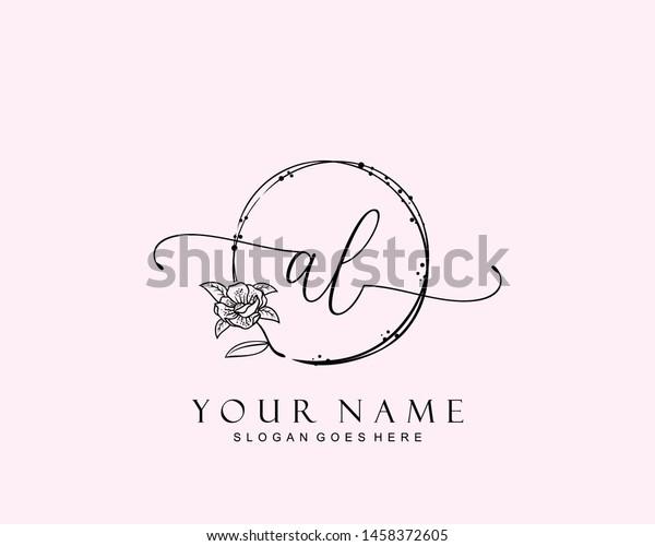 Initial Al Beauty Monogram Elegant Logo Stock Vector Royalty Free 1458372605