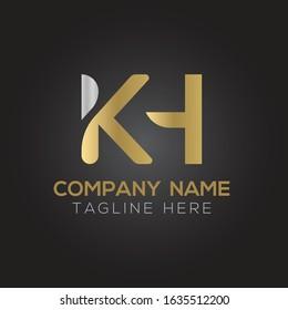 Initial Alphabet KH Logo Design vector Template. Linked Letter KH Logo Vector