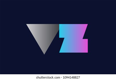 initial alphabet letter vz v z logo combination in pink blue and grey colors suitable for business and corporate identity