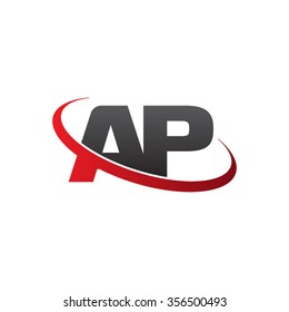 initial AP swoosh ring company logo red black