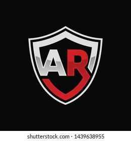 Initial AR shield logo template vector illustration