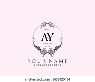 Initial AY beauty monogram and elegant logo design, handwriting logo of initial signature, wedding, fashion, floral and botanical with creative template.