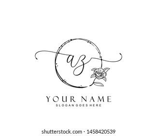 Initial AZ beauty monogram and elegant logo design, handwriting logo of initial signature, wedding, fashion, floral and botanical with creative template.