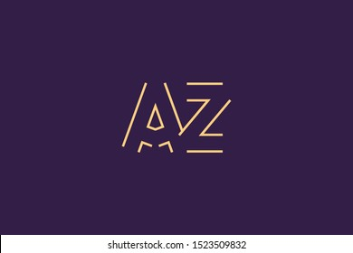 Initial AZ ZA Letter Logo Design Vector Template. Monogram and Creative Alphabet A Z Letters icon Illustration.