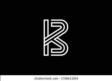Initial B BB BK KB modern monogram and elegant logo design, Professional Letters Vector Icon Logo on black background.