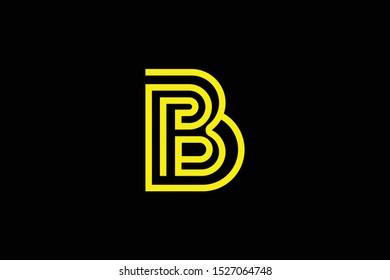 Initial B BB BP PB modern monogram and elegant logo design, Professional Letters Vector Icon Logo on black background.