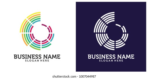 initial B C with the concept of color circle. Initial b, c, g, l, e, d, t, o, u, v, w, m, a, q, s, p, i, z logo concept vector