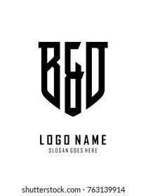 Initial B & D abstract shield logo template vector