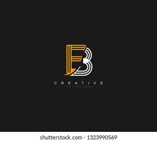 Initial B or EB Letter Modern Bold Outline Shapes Cutting Edge Logo