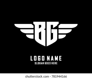 Initial B & G wing logo template vector