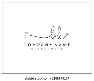 Initial B K handwriting logo template vector