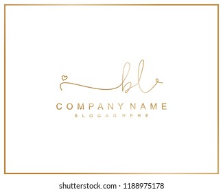 Initial B L handwriting logo template vector