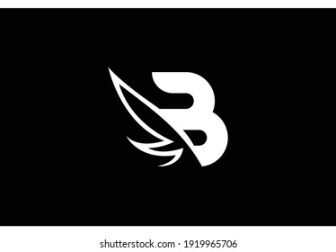 Initial B Linked Sharp Shape Wings Vector Logo