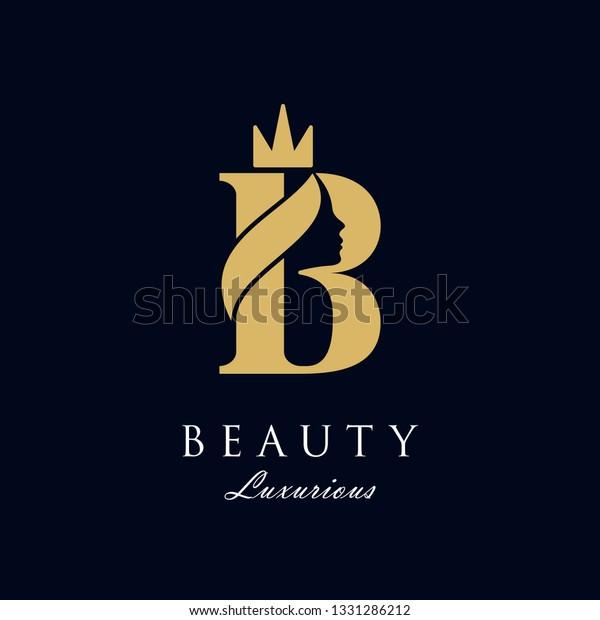 la reina de belleza inicial B lujosa cara con el logo de la corona diseño de la inspiración vectorial. consistía en letra B con cara de señora en espacio negativo con corona