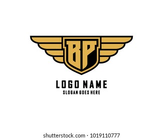 Initial B & P wing shield logo template vector