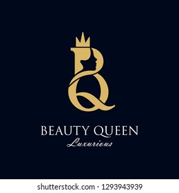 initial B Q luxury beauty queen woman face with crown logo design vector inspiration. consisting of a entwined B and Q with lady face on negative space with crown.
