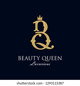 initial B Q Royal beauty queen woman face with crown logo design, consisting of a entwined B and Q with lady face on negative space with crown