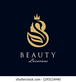 initial B Royal beauty queen woman face with Swan and crown logo design, consisting of a initial B and Swan and lady face on negative space with crown