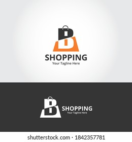 Initial  B Shop Logo designs Template. Illustration vector graphic of  letter and shop bag combination logo design concept. Perfect for Ecommerce,sale, discount or store web element. Company emblem