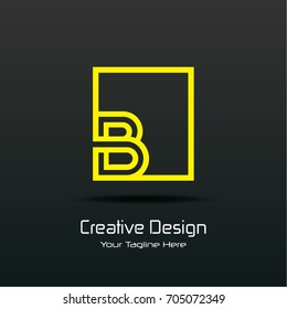 Initial B Square Framed Letter Logo Design Vector with Black and Yellow Colors