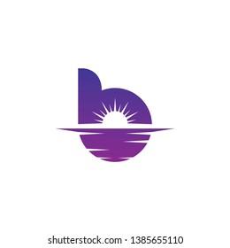 Initial B and sunset logo design inspiration