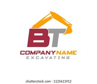 Initial B T excavator logo concept vector with arm excavator template vector.