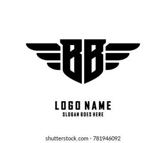 Initial B & B wing logo template vector